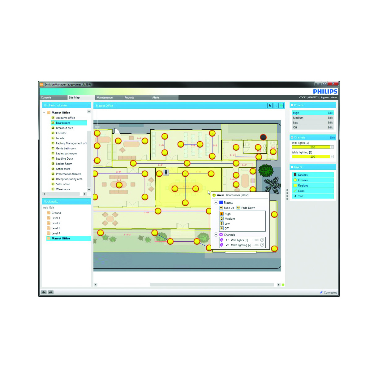 Philips Dynalite EnvisionManager Screenshot